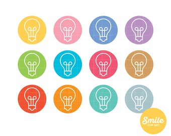 Round Icon Light Bulb Clipart for Commercial Use - C0156