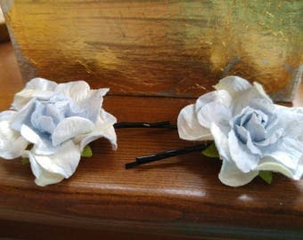 Blue hydrangea flower hair pins, floral bobby pins, gift for her, spring flowers,
