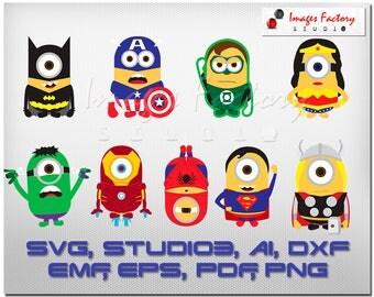 9 Minion Superhero - svg Batman, Captain America, Green Lantern, Hulk, cuttable Cricut Design Space, Digital Cut Files, dxf studio3 clipart