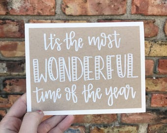 Set of 5 It's the Most Wonderful Time of the Year Holiday Cards with White Embossed Lettering - Rustic Calligraphy Greeting Cards