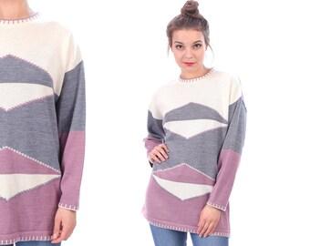 Vintage COLOURBLOCK Sweater 90s . Jumper Wool Blend Pink Grey White Geo Print Crew Neck 1990s Pullover Bohemian Gift . Medium Large