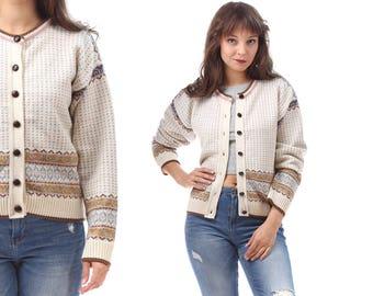 White Vintage Cardigan Sweater 80s Norwegian Style Nordic Wool Blend Scandinavian Cream White Crew Neck Geometric Print Northern Medium