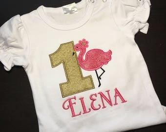Pink Flamingo birthday shirt
