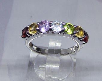 Ring Silver 925/1000 decorated with Amethyst Topaz Citrine Peridot Garnet - silver stone ring-semi-precious ring silver gemstone