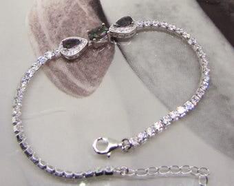 Zirconium and mystic Topaz 925 sterling silver bracelet
