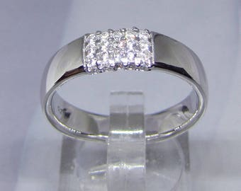 Size 58 ring band Sterling Silver and CZ (Cubic Zirconia) diamond