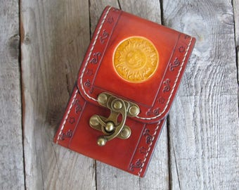 Antique Brown Tarot Deck Box Sun Moon Tarot bag Tarot leather case Leather pouch Tarot Card holder Leather bag