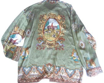 Men's Silk Equestrian Hunt Illustrated Shirt. So Elegant!
