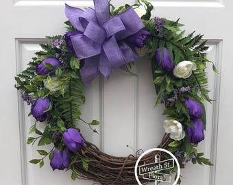 Spring Wreath, Easter Wreath, Tulip Wreath, Purple Wreath, Fern Wreath, Wreath Street Floral, Front Door Wreath, Grapevine Wreath