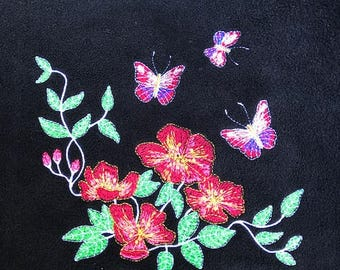 Embroidered Butterfly Picnic Blanket