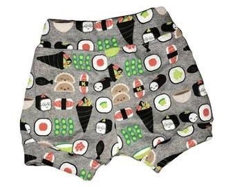 baby shorts, baby bummies, baby shorties, sushi shorts, gender neutral short, baby sushi, baby bloomers