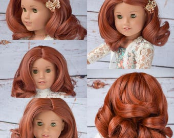 "Custom Doll Wig for 18"" American Girl Doll Heat Safe Tangle Resistant - fits 10-11.5"" head size of all 18"" dolls Gotz Our Generation Red"