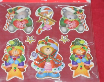 set of 8 Christmas themed wall decal stickers