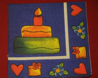 "napkin child theme ""birthday cake"""