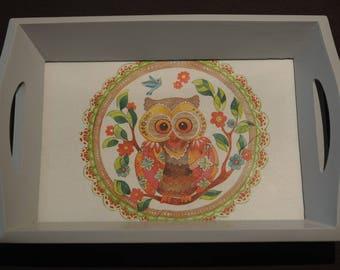 wooden tray, theme: 'OWL'