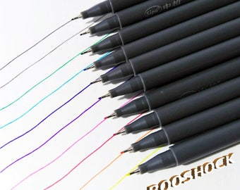 10 Colored Pens Set for scrapbooking and decoration, calligraphy pens ~ set of 10 ~ drawing pens ~ calligraphy pen set ~ brush pen - New!