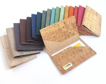 Cork business card case, many colors. Business card holder.