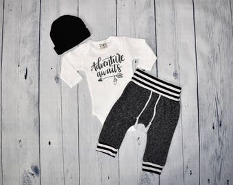 Baby Boy Adventure Coming Home Outfit Adventure Awaits Newborn Outfit Newborn Boy Take Home Outfit Hospital Outfit
