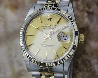 Rolex 16013 Quickset Datejust Gold Steel 1982 Automatic Swiss Made Lux Watch DD2