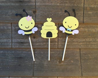 Bee Cupcake Toppers Gender Reveal Baby Shower What will it BEE