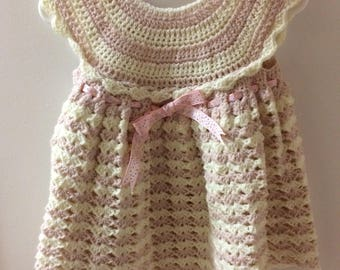 Baby Dress, crochet, pink-white