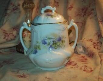A beautiful antique French Limoges porcelain sugar bowl