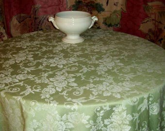 Pretty green damask thick fabric tablecloth.