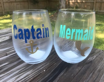Captain and Mermaid  Set of 2 his and her