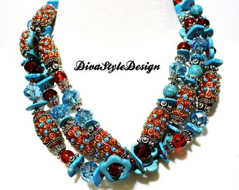 Turquoise & Red Statement Necklace with Turquoise, Crystals, Manuti Beads, and Magnesite