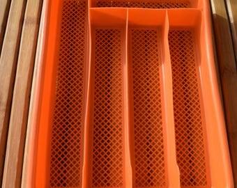Vintage orange plastic cutlery tray - France - POP -