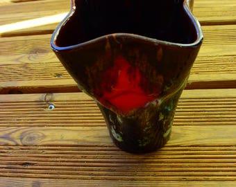 VALLAURIS vase - Vintage vase - made in France - brown and red vase - art pottery -