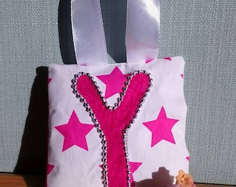 PINK star tooth fairy pouch doorhanger with PINK felt letter, SILVER beaded border, and pink diagonal pocket on reverse for tooth/coin.