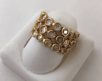 22k Gold plated over Sterling Silver Crystal Ring in Size 6 and 9