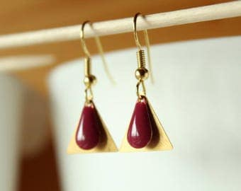 Golden triangle and sequin drop earrings raspberry pink