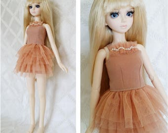 BJD, MSD, Doll outfit, Doll clothes, Doll dress.  peach color strap  dress.