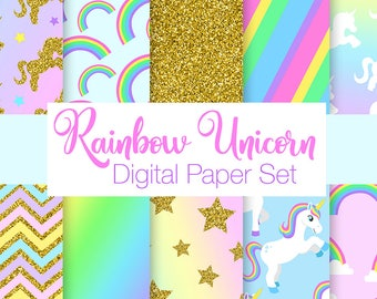 Rainbow Unicorn Digital Paper Set, Cut Unicorn Scrapbook Papers, Rainbow Craft Backgrounds, Digital Papers for Scrapbooking, Commercial Use