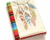 Dreamcatcher Fabric Book Cover, Reusable Notebook Case, Colorful Handmade Embroidery, Gift for Her, Travel Journal, Diary Cover, Red, Blue