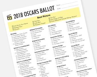 2018 Oscars Party Printable Ballot - Instant Download Academy Awards Ballot 2018