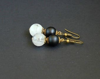 White black dangle earrings Quartz black stone earrings Dainty gemstone earrings Rutile quartz earrings Shungite earrings Round earrings