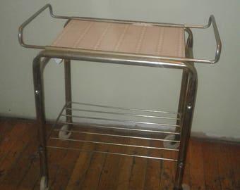 VintAge Serving Tray/Vintage Rolling Cart/Vintage Metal Rolling Serving Cart