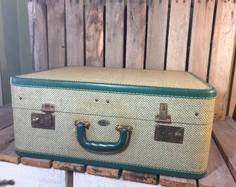 Maximillion Tweed Suitcase, Vintage Tweed Suitcase,Vintage Luggage, Tweed Suitcase