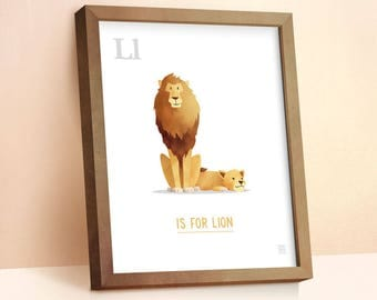 Lion Print | Nursery Animal Print | Alphabet letters | Alphabet Print | ABC letters | Animal Prints for Nursery | Nursery Wall Art