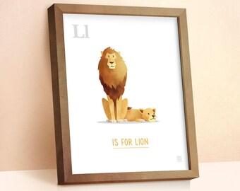 Lion Print | Nursery Animal Print | Alphabet letters | Alphabet Print | ABC letters | Animal Prints for Nursery | Nursery Wall Art