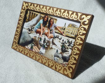 Photo Frame Engraved Gold Patina Walnut Wood Engrave  Wooden Picture Frames Gift Birthday Mother's Day
