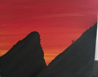 Acrylic Painting Silhouette of Climber on Second Flatiron Red Sky