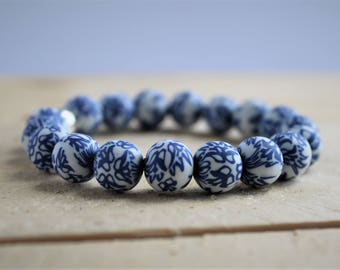 Polymer Clay Beaded Stretch Bracelet Blue White