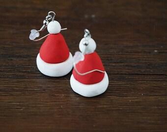 Polymer Clay Santa Hat Earrings
