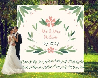 Greenery Themed Wedding Backdrop Custom Banner Photo Booth Garden