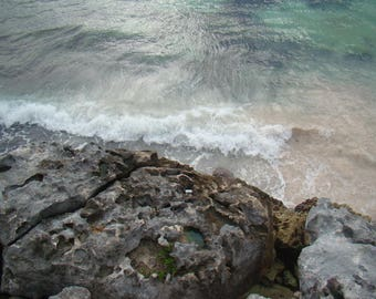 Rocky Ocean Cliff with Waves in Tulum, QR, Mexico