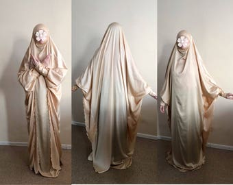 Long gold Silk Khimar, muslim dress, nikkah Burqa, Wedding Abaya, traditional hijab,Elegant hijab, Long burqa, Maxi golden jilbab